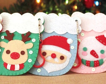 Pre-cut Christmas Stocking Ornament felt kit - Santa Clause, Reindeer, Christmas tree, snowman, set of 4, card holder