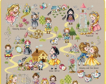 Fairy Tale Land 2 Soda Stitch pattern and kit, beauty and the beast, snow white, princess collection, Cinderella, cute, children room decor