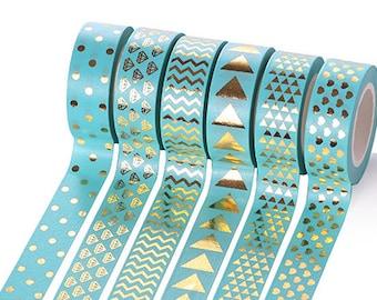 6 rolls golden pattern tiffany blue washi tape, masking tape, planner decor, cute stationery