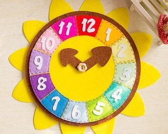 DIY play clock felt kit, pre-cut felt kit DIY, home school learning tools, felt clock, toy clock