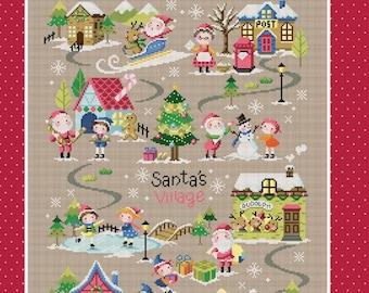 Christmas cross stitch pattern and kit - Santa's Village 1, Christmas decor, Christmas gift, Christmas craft, counted cross stitch pattern