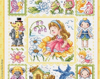 Cute modern cross stitch patter and kit - Thumbelina by Sodastitch, children story book, classic children story, children room decor