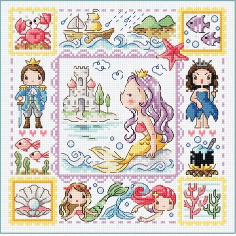 Image result for cross stitch soda stitch mermaid