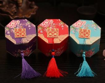 20 DIY Chinese Wedding candy box with tassel, paper wedding favor box with tassel, double happiness treat box with tassel, wedding favor