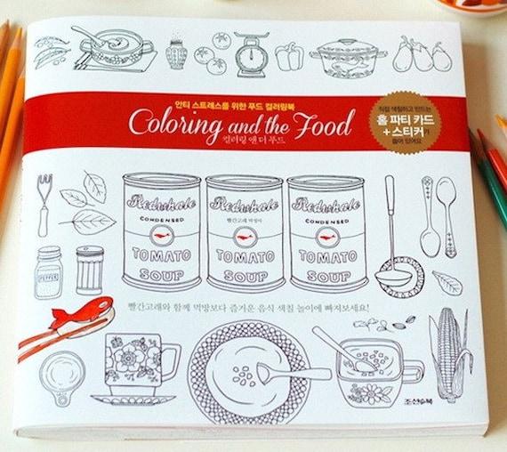 Colorear libro para adultos para colorear y los alimentos | Etsy