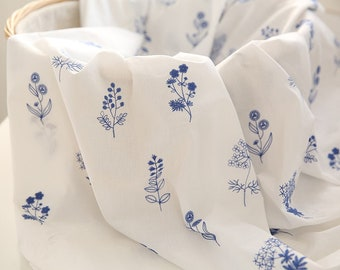 Blue floral embroidered fabric, floral fabric, embroidered floral fabric, half yard