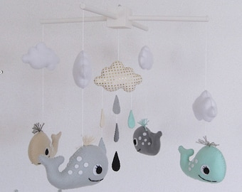 Whales and raindrops Deco Mobile. Choose your colors for an unique baby nursery mobile