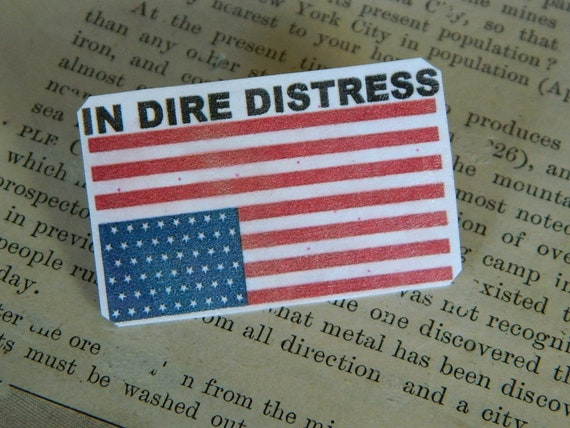 Upside Down Flag Jewelry Brooch In Dire Distress International Etsy