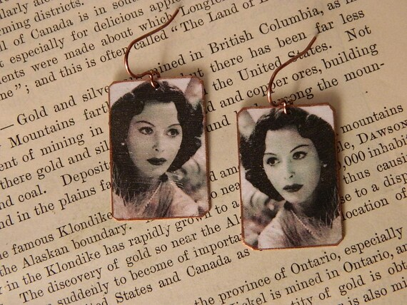 cbb051940 Hedy Lamarr earrings mixed media jewelry