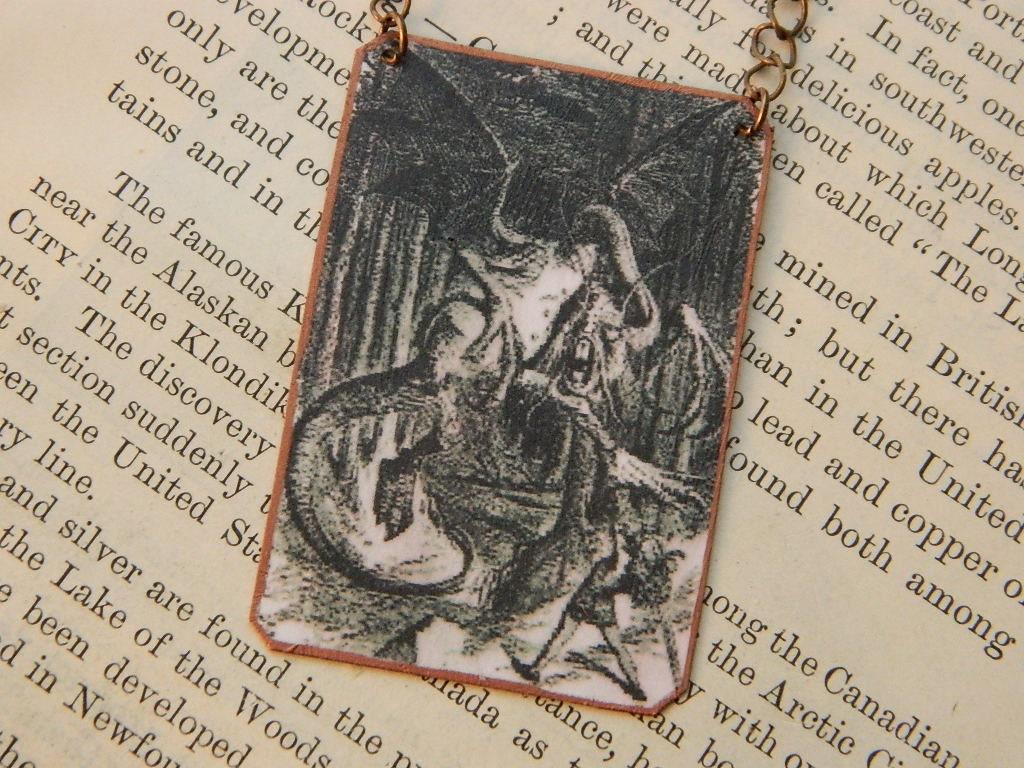 Jabberwocky Halskette Schmuck Mischtechnik Alice im Wunderland   Etsy