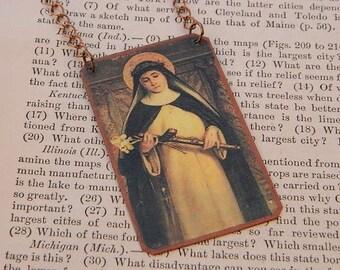 Saint necklace Saint Catherine of Siena jewelry Mixed Media Jewelry