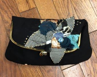 Black Fold Over Embellished Purse