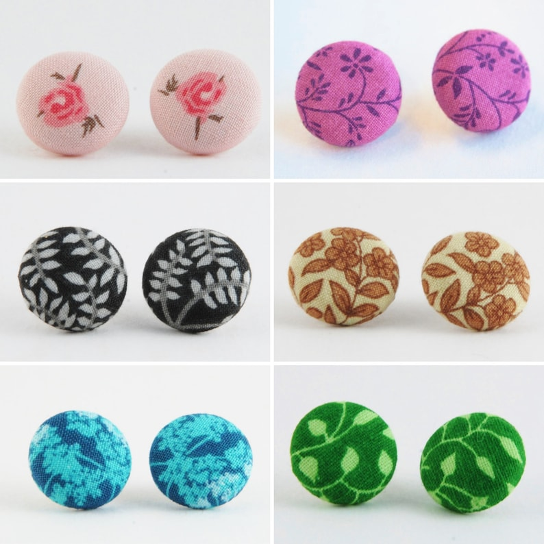 Floral Cover Button Earrings Stud Earrings