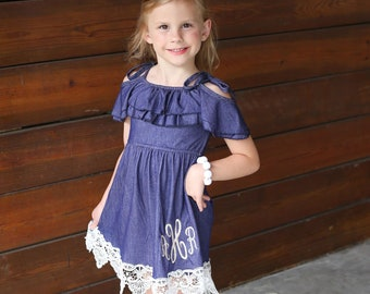 a7c6c3c16b2 Short Sleeve Dress Denim Dress Boutique Dress Boutique Outfit Denim And Lace  Girls Clothing Monogrammed Dress Custom Dress Summer Dress