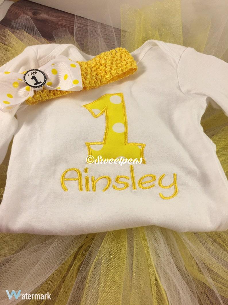 Girls 1st Birthday Outfit;1st Birthday Outfit;Cake Smash Outfit;Personalized Shirt;Girls Birthday;Birthday Tutu;Yellow Birthday;