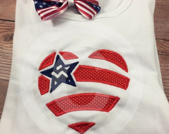 Girls July 4th Shirt;Patriotic Shirt;Love America;Girls Shirts;Personalized Shirts;4th of July;Red White Blue;Girls Embroidered Shirt