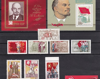 Soviet Union stamp collection - 11 vintage stamps and 4 minisheets, Russian postage stamps Lenin communism pioneers red flags komsomol