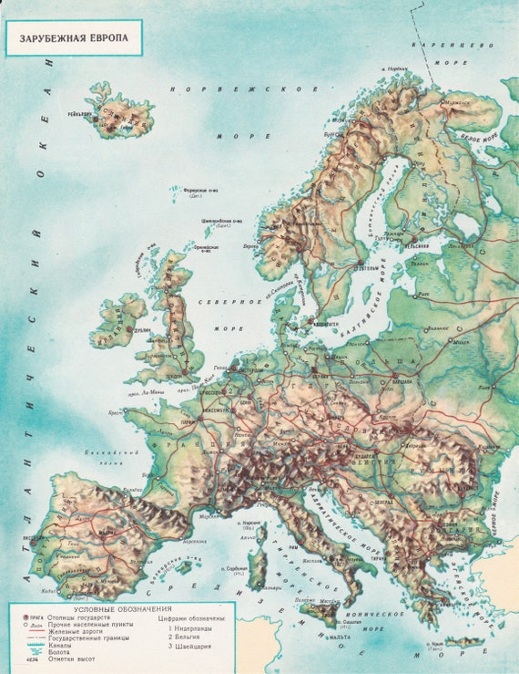 Map Of Europe 1950s.Vintage Europe Small Map Print 1950s Soviet Union Ussr Etsy