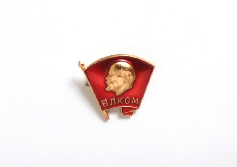 Vintage Soviet memorabilia 1960s 1970s Communism Vladimir Lenin enamel pin Komsomol VLKSM red flag badge propaganda USSR