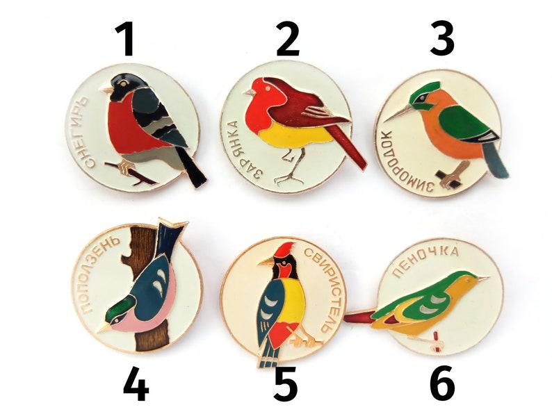 wild birds fauna USSR metal badge brooch Vintage Soviet souvenir Songbirds enamel pins