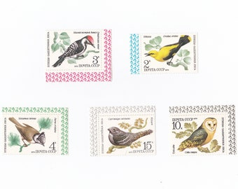Vintage stamps, Birds of Soviet Union, Russian postage stamps cancelled 1979, paper ephemera, collage art supplies