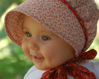 Calico Baby Bonnet, Red Calico, Apple Picking Bonnet,