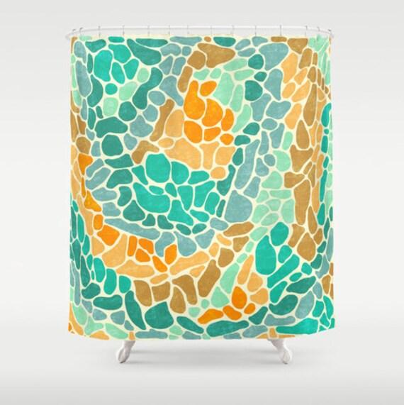 Strand Glas Kunst Duschvorhang Mosaik Kunst Badezimmer Dekor | Etsy