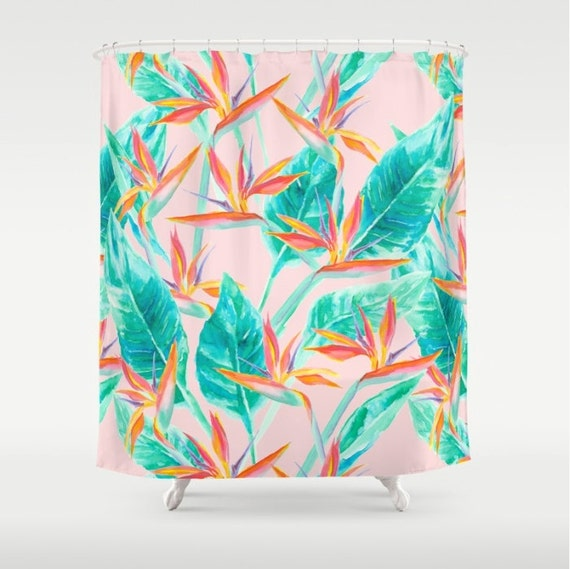 Birds Of Paradise Shower Curtain Tropical Pattern Watercolor