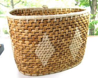 "Vintage basket, oval basket, coiled basket, 9"" high, 12"" long, 6"" wide, rustic basket, natural fiber"