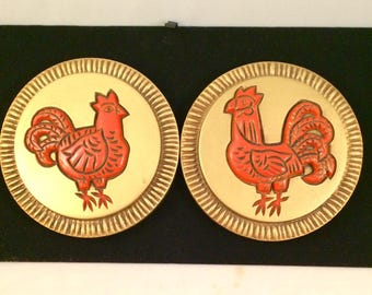 Vintage Hen and Rooster Wall Plaques