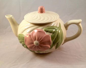 Wild Rose and Antique White Ceramic Teapot