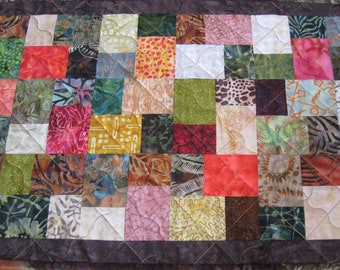 Quilted Fall Table Runner, Split Block in Bright Batiks #2 FREE SHIPPING