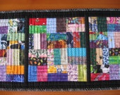 Table Runner Topper Scrappy Rectangles with Black FREE SHIPPING