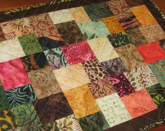 Quilted Fall Table Runner, Split Block in Bright Batiks #3 FREE SHIPPING