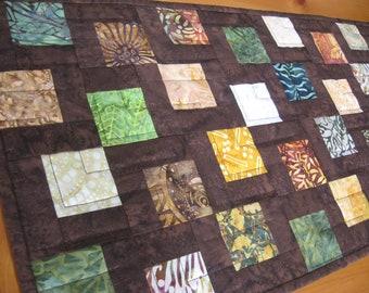 Quilted Fall Table Runner, Batik Kissing Squares Block