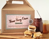 """Your Very Own Do It Yourself """"DIY"""" S'more Kit With Handmade Marshmallows, Graham Crackers, Wooden Skewers, Ganache, and Salted Caramel"""