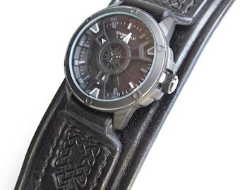 Black Watch cuff, Handmade Watch Strap