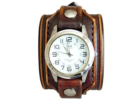 Orologio uomo in pelle pelle marrone rustico antico orologio   Etsy 464b15c2d5e6