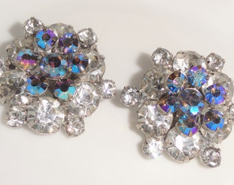 Juliana Style Silver Tone Clear & Aurora Borealis Layered Flower Floral Cluster Vintage Clip Back Earrings