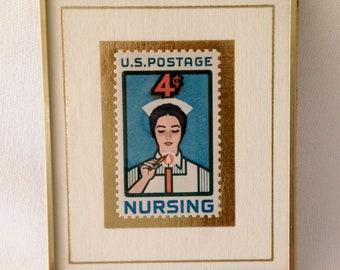 Nursing Postage Stamp ~ US Postage Stamp ~ Vintage Framed Stamp ~ Hanford Heirloom