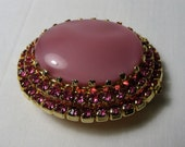 Vintage Austrian Pink Rhinestone Large Glass Cab Oval Brooch Prong Set Open Back Gold Tone Mid Century Costume Jewelry