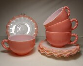 4 Vintage Hazel Atlas Pink Crinoline Cup and Saucer Sets with Beaded Handles Ruffled Edge 1950 39 s Pastel Mid Century MCM Kitchenware