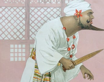 Antique 1911 VANITY FAIR Men of the Day Chromolithograph Print KISMET Fate Destiny Turban Turkish Beard