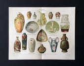 Antique Print 1890s German Colour Chromolithograph CERAMICS Vase Porcellain