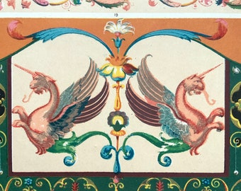 Antique 1904 Chromolithograph Bookplate  Japanese Style Painting German ART NOUVEAU Print Interior Design Reference Home Decor Art
