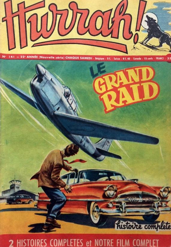 Vintage French 1950s Boys Adventure Comic Magazine Hurrah Fifties Automobile Aeroplane