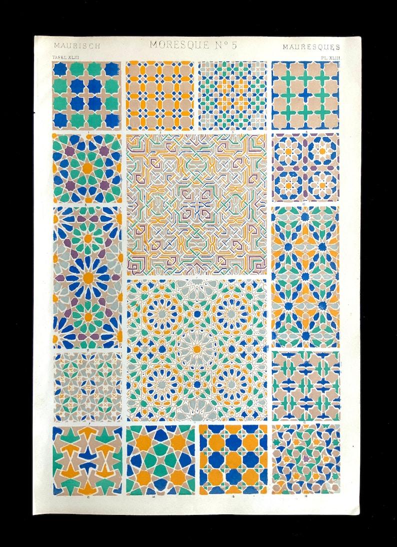 Antique 1856 MOORISH DECORATIVE Art Chromolithograph Bookplate Owen Jones Grammar of ORNAMENT Print Interior Home Decor Design Reference