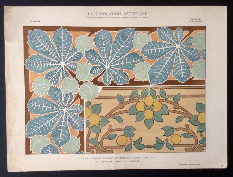 1911 Original Art Nouveau French Pochoir Antique Print Henry Guedy LA DECORATION ARTISTIQUE Th\u00e9zard Chestnut Autumn Fall Interior Design