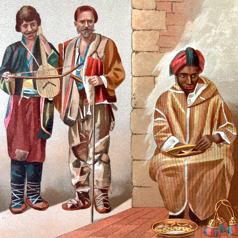 1888 French Antique Chromolithograph Le Costume Historique Print AFRICA AFRICAN Dress Historic Fashion RACINET
