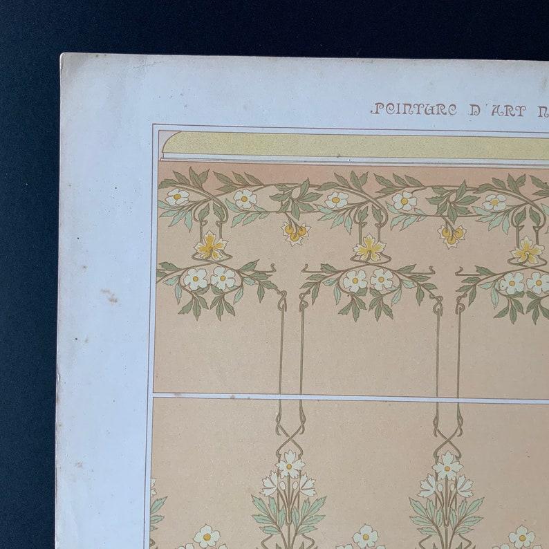 Rare 1900 Original Art Nouveau French Antique Print Etienne Mulier PEINTURE D\u2019ART NOUVEAU Floral Chromolithograph Interior Decoration Deco